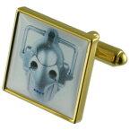 【送料無料】メンズアクセサリ— サイバーマンゴールドスクエアカフリンクスcyber man science gold square cufflinks with engraved personalised case