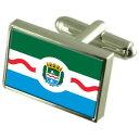【送料無料】メンズアクセサリ— マセイオブラジルスターリングシルバーフラグカフスボタンボックスmaceio city brazil sterling silver flag cufflinks engraved box