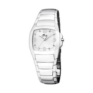 腕時計, 男女兼用腕時計  lotus shiny para mujer 156148 en acero inoxidable pulido y esfera blanca