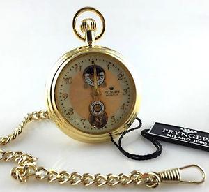 腕時計, 男女兼用腕時計  pryngeps poket watch manual wind orologio tasca carica manuale skeleton lunare