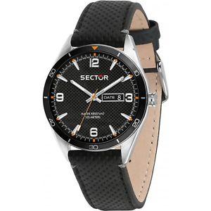 腕時計, 男女兼用腕時計  orologio sector 770 r3251516001 uomo watch pelle 44mm nero datario wr 100m nera
