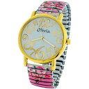 【送料無料】腕時計 ウォッチ レディースピンクドレスラバーベルトエクスパンダブレスレットアラームtdc damas nias rosa florido expansor elstico pulsera correa vestido reloj toc158