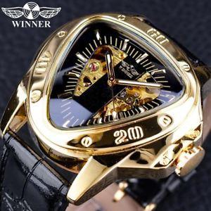 腕時計, 男女兼用腕時計  winner steampunk moda tringulo de oro movimiento esqueleto hombres misteriosos automa