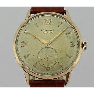 【شحن مجاني】 شاهد مشاهدة Vintage k Goldman longines خمر يدوي لف 18k gold man