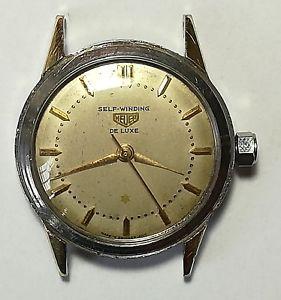 腕時計, 男女兼用腕時計  rare heuer self winding de luxe automatic vintage watch
