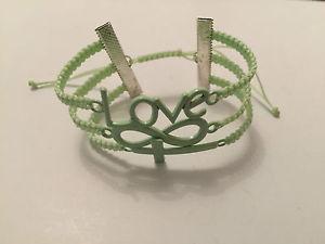 男女兼用アクセサリー, ブレスレット  diy bracelet armkette love, infinity and cross green silver handmade pp
