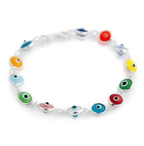 男女兼用アクセサリー, ブレスレット  sterling silver multi color glass evil eye bracelet 10mm 7