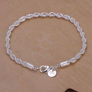 男女兼用アクセサリー, ブレスレット  silver bracelet fashion 4mm rope solid chain women men party high quality