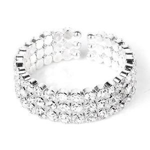 男女兼用アクセサリー, ブレスレット  5x3 rows bracelet rhinestone open silver i7a1