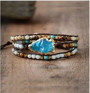 男女兼用アクセサリー, ブレスレット  wrap bracelets natural stones arrowhead quartz charm 3 times friendship bracelet