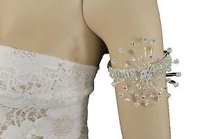 【送料無料】ブレスレット アクセサリ— アッパーアームカフブレスレットファンシーファッションジュエリーwomen silver metal big flower high upper arm cuff bracelet fancy fashion jewelry