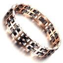 【送料無料】ブレスレットアクセサリ?ローズゴールドタングステンカーバイドセラミックトウトーンリンクブレスレットrose gold tungsten carbide ceramic tow tone polished link bracelet men women