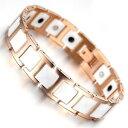 【送料無料】ブレスレットアクセサリ?ローズゴールドタングステンホワイトセラミックブレスレットmen women rose gold tungsten white ceramic magnetic therapy bracelet arthritis