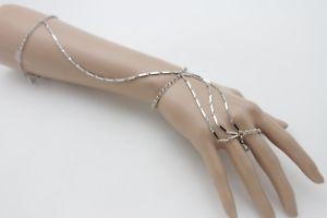 男女兼用アクセサリー, ブレスレット  women long fashion fantasy silver metal chain for hand arm bracelet
