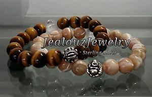 【送料無料】ブレスレット アクセサリ— メンズタンブラウンタイガーアイストレッチブレスレットmens luxury sterling silver tan brown mop tiger eye gemstone stretch bracelet