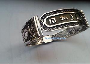 男女兼用アクセサリー, ブレスレット  personalized oxidizedfinished egyptian silver filigree w ankh bracelet jewelry