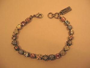 男女兼用アクセサリー, ブレスレット  amaro bracelet multi color stones , flowers silver plated 725 in signed