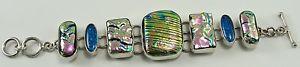 男女兼用アクセサリー, ブレスレット  925 sterling silver bracelet link multi color polymorph iridescent acrylic 75