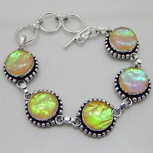 【送料無料】ブレスレット アクセサリ— オーストラリアトリプレットオパールハンドメイドジュエリーブレスレットaustralian triplet opal silver plated handmade jewelry bracelet 24 gm a19