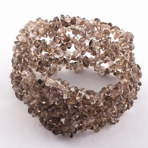 【送料無料】ブレスレット アクセサリ— スモーキークオーツカットチップビーズブレスレットgrey brown natural smoky quartz gemstone uncut chip beads bracelet