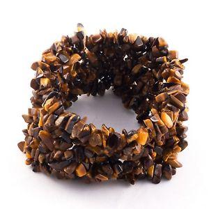 【送料無料】ブレスレット アクセサリ— ゴールデンブラウンタイガーアイカットチップビーズブレスレットrare golden brown color natural tiger eye gemstone uncut chip beads 8 bracelet