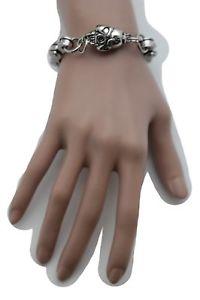 男女兼用アクセサリー, ブレスレット  women silver fashion metal skeleton skull charm bracelet motorcycle links