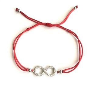 【送料無料】ブレスレット アクセサリ— スターリングシルバーブレスレットブエナsterling silver infinity red braceletpulsera rojo infinito buena suerte18mm