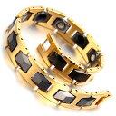 【送料無料】ブレスレットアクセサリ?メンズゴールドタングステンカーバイドリンクブレスレットmens gold tungsten carbide magnetic therapy link bracelet pain relief arthritis