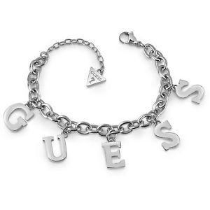 男女兼用アクセサリー, ブレスレット  guess jewels bracciale in acciaio con charms lettere ubb28020s nuovo