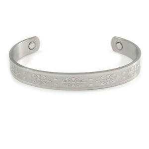 男女兼用アクセサリー, ブレスレット  uomini donne celtico motivo fiori argentati rame polsino braccialetto magnetico con