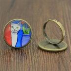 【送料無料】猫 キャット リング ビンテージリングリングwysiwyg adjustable rings painting rings for women vintage