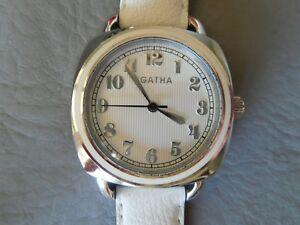 腕時計, 男女兼用腕時計  agatha montre bracelet cuir blanche acier carre email ronde femme woman watch