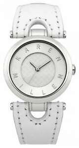 【送料無料】腕時計 ladies karen millen white leather strap watch km110w brand in box original