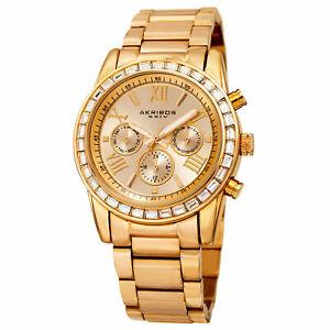 腕時計, 男女兼用腕時計  womens akribos xxiv ak943yg 24 hour indicator swarovski crystal bezel watch