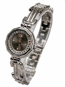 腕時計, 男女兼用腕時計  womens silver finish round case analog quartz watch