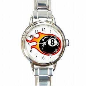 【送料無料】腕時計 ボールビリヤードボールプレーヤーレディースブレスレット8 ball on fire billiards eight ball player womens bracelet watch