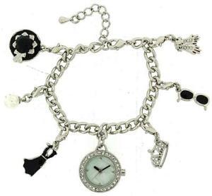 【送料無料】腕時計 ハリウッドオードリーヘプバーンブレスレットファッションウォッチhollywood legends audrey hepburn silver charm bracelet fashion watch w2729m