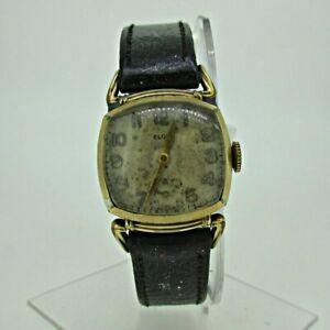 腕時計, 男女兼用腕時計  vintage 1942 elgin 554 15j 10k gold filled and stainless steel watch with leathe