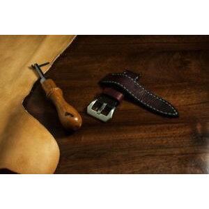 【मुफ्त शिपिंग Mah घड़ी महोगनी पनेराई पट्टा इतालवी चमड़ा हस्तनिर्मित महोगनी पनेराई घड़ी का पट्टा 24mm 24 असली इतालवी चमड़ा iwc 74 हस्तनिर्मित