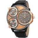【送料無料】腕時計 メンズジョシュアトリプルタイムゾーンストラップウォッチmens joshua amp; sons jx105rgbk triple time zone genuine leather strap watch