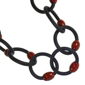 【送料無料】アクセサリー ネックレスゴムネオプレンリンクロングネックレスmoda fabuloso joyera eslabn negro neopreno goma 48 largo collar wi