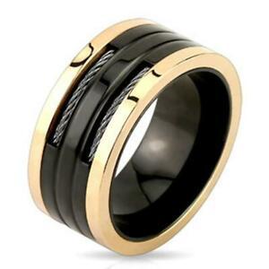 【送料無料】アクセサリー ネックレスステンレススチールリングブラックピンクワイヤーaf anillo de acero inoxidable negro, rosado 10mm ancho incrustado alambre 60