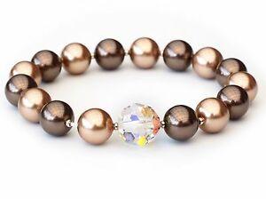 男女兼用アクセサリー, ネックレス・ペンダント  pulsera nuevo 10mm12mm swarovski perlas broncemarrncrystal a partir de perlas pulsera
