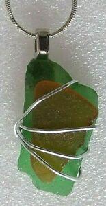 【送料無料】アクセサリー ネックレスライムグリーンガラスワイヤーコーンウォールネックレスボックスverde lima amp; alambre de vidrio marrn claro cornish mar envuelto collar de 18 en caja de r