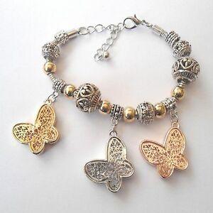 男女兼用アクセサリー, ネックレス・ペンダント  bracciale donna colore argento rame oro con farfalle pendenti 60 l