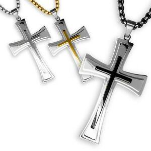 【送料無料】アクセサリー ネックレストレーラチェーンシルバーブラックステンレススチールチェーンクロスcadenas cruz remolque remolque plata negro cadena de acero inoxidable crucifijo