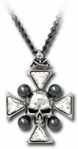 男女兼用アクセサリー, ネックレス・ペンダント  alchemy gothic st johns crystal ossa incrociate collana con ciondolo teschio p627