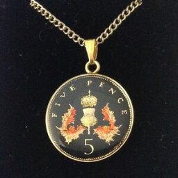 【送料無料】アクセサリー ネックレス エナメルコインペンダントブラックゴールド1987 smaltato 5p coin ciondolo neroorocolori 32nd compleannoanniversario