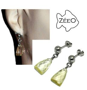 男女兼用アクセサリー, ネックレス・ペンダント  zeeo boucles doreilles acier argent pendant topaze jaune bijou earring