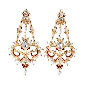 【送料無料】アクセサリー ネックレス イヤリングクリッププライヤエナメルミニパールorecchini clip pinza dorato candeliere smalto rosso mini perla matrimonio yw2